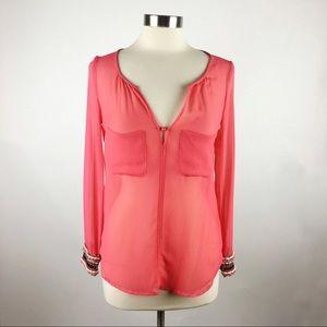 Zara Trafaluc Red Embellished Cuff Split Neck Top